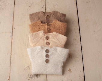 Sidney Sleeper Fuzzy Knitted Footed  Newborn Romper for Newborn Photography, Soft Knit Romper and Bonnet Newborn Out Set, Footed Romper
