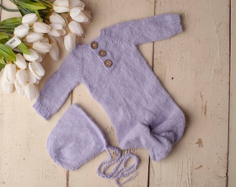 Lilac Purple Sidney Sleeper Fuzzy Knitted Footed  Newborn Romper for Newborn Photography, Lilac Soft Knit Romper and Bonnet Newborn Out Set