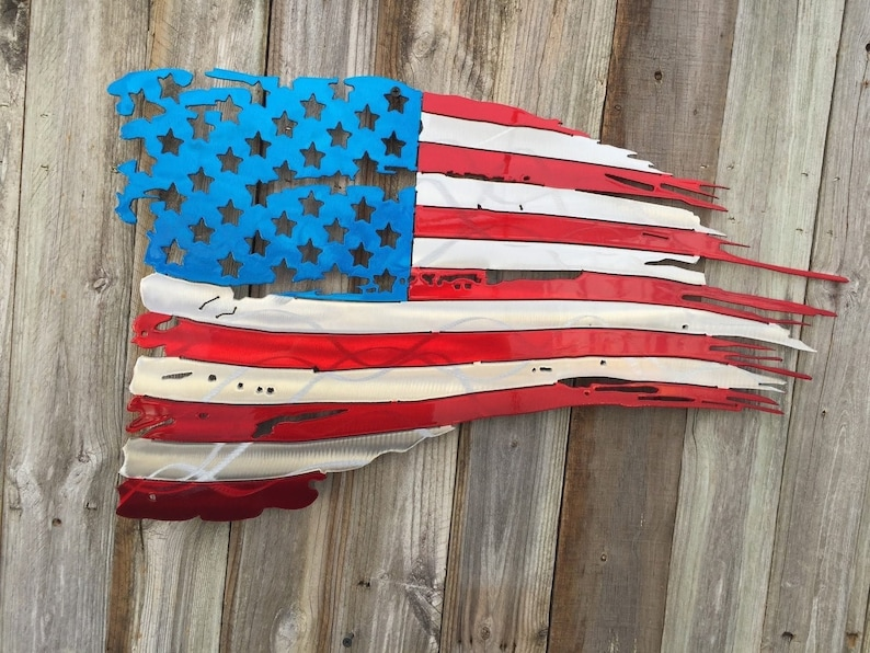 Tattered and Torn American flag metal art. aluminum. Do not image 0
