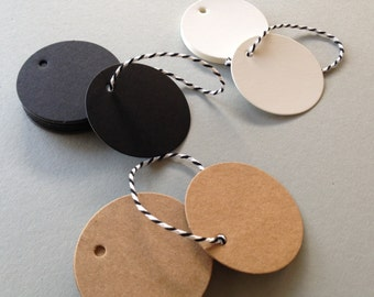 20 ROUND GIFT TAGS with Bakers Twine | Circle Gift Tags and String | Kraft Gift Tags | White Gift Tags | Black Gift Tags | Wishing Tree Tags