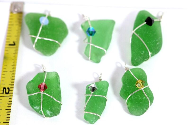 handmade components beadvamp Dark green seaglass Cape Cod sea glass sterling silver wrapped beach glass Jewelry supplies