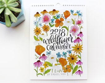 2018 Calendar - Handpainted Wildflower 2018 Wall Calendar