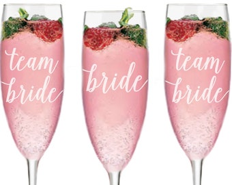 Bachelorette Party Favors, Personalized Bridal Party Gift, Personalized Glass Champagne Flute, Team Bride Gifts, Bachelorette Party Gift