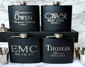 groomsmen gift personalized flask hip flask groomsmen flask etsy
