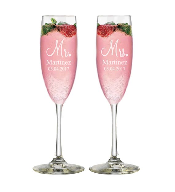 Bridal Shower Gift Champagne Glasses Custom Wedding Gift Etsy