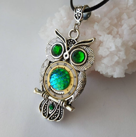 Women necklace Owl Mythical Silver Green Exotic jewelry Dragon Mermaid scale Sparkly Shiny Gift Owls love Steampunk Fantasy owl Totem Bird
