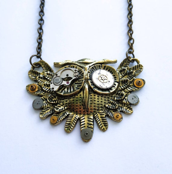 Owl jewelry Steampunk necklace Metal Woodland Bird Watch parts Steam punk Owls Clockwork Vintage Mothers day gift