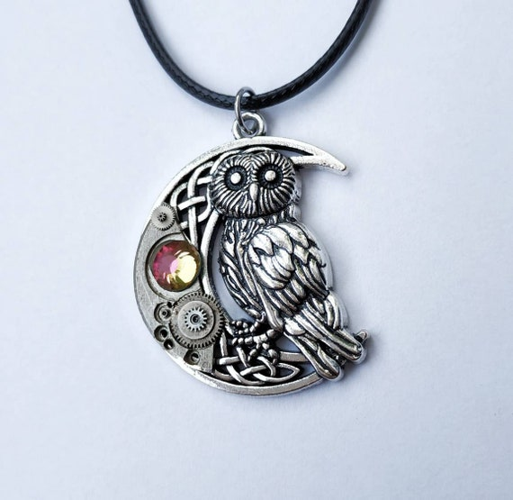 Owl in moon jewelry Steampunk pendant Necklace Vintage Watch parts Fantasy Celtic Steam punk Bird Totem Silver Mens gifts For women Men