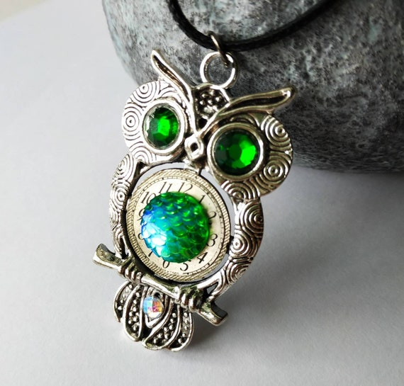 Owl jewelry Mythical Silver Exotic Holographic Dragon Mermaid Scale Gift Owls love Fantasy Totem Bird For women Men Man Industrial Owls