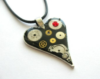 Heart jewelry Steampunk heart necklace Clockwork Steam punk Industrial Heart pendant Gift Idea Black heart Gothic Steampunk style
