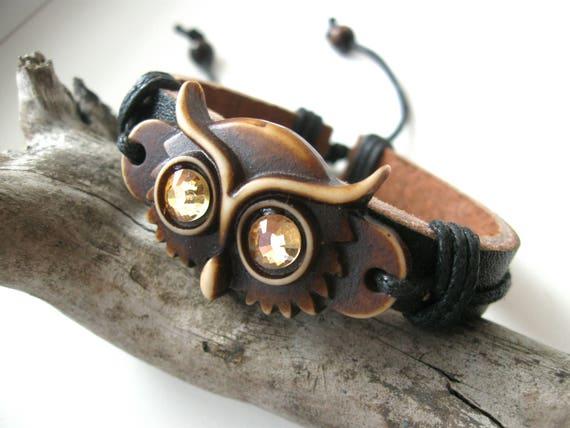 Owl bracelet Bird accessory Men Women Birthday gifts Brawn Totem Gift for her him Owls Carved Bone Hippie Wisdom Wristband Armband