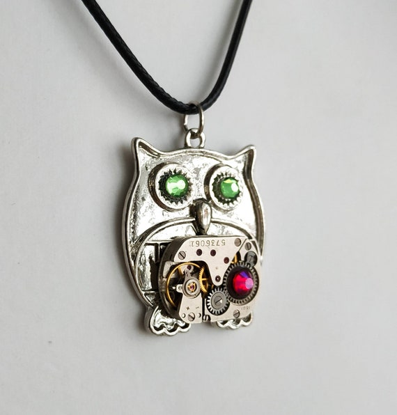 Owl jewelry Steampunk necklace Bird pendant Fantasy creature Steam punk Owls Wedding Women For men Valentine's day Lover gift Festival