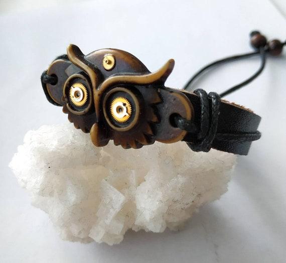 Owl bracelet Steampunk gift For Men Men's Mens Women woman Totem Bird Wristband man Owls Carved bone Armband Wristband Fashion Watch Gears