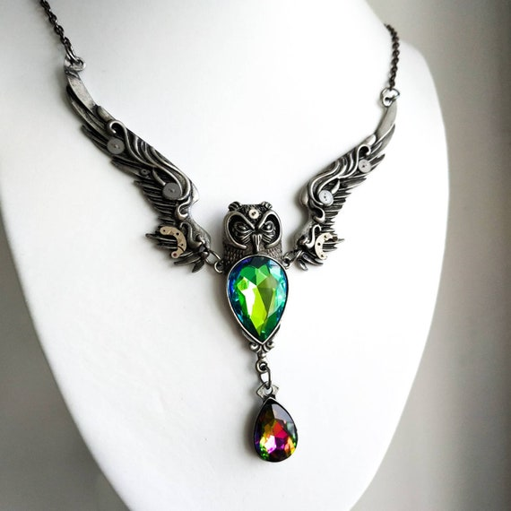 Owl in flight jewelry Crystal Fantasy necklace Celtic Viking Barn owl Pagan Totem Present Gifts for women Sister Cousin Girlfriend