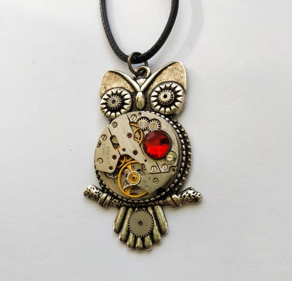 Owl jewelry Steampunk necklace Vintage Watch parts Fantasy Metamorphosis Majestic Totem Silver Red Amazing gifts for women Mom Sister Men