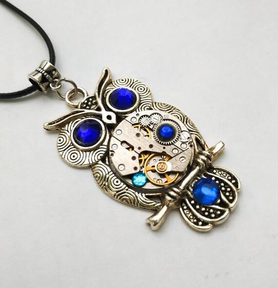 Owl jewelry Steampunk Gift Silver Metal Necklace Dark blue Bird Fantasy Totem For women men Girlfriend Steam punk Vintage Watch parts Owls
