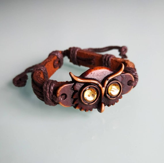 Owl bracelet Bird accessory Men Women Birthday gifts Brawn Totem Gift for her him Owls Carved Bone Hippie Wisdom Wristband Armband