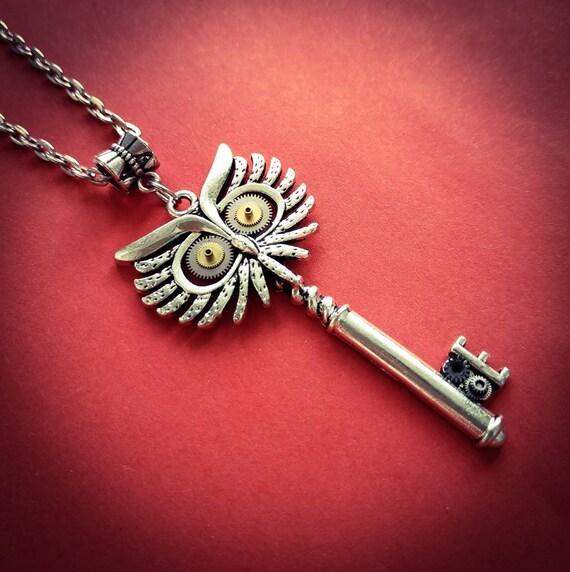 Owl key Jewelry Fantasy bird necklace Steampunk Jewellery pendant Clockwork for men Vintage watch parts Totem Silver Gifts Girlfriend gift