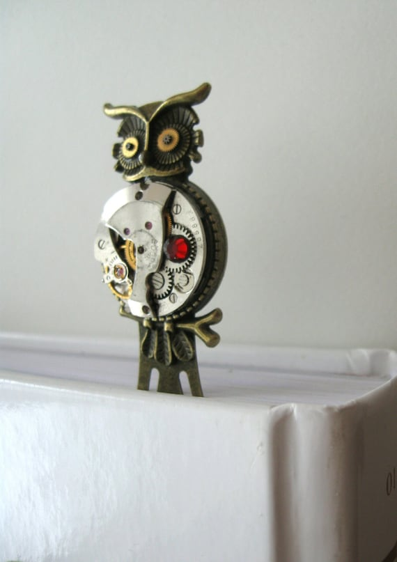 Owl bookmark Steampunk Bookmark Steampunk owl Watch parts Clockwork Bookmark Vintage owl Steampunk heart Steampunk accessories Owl gift