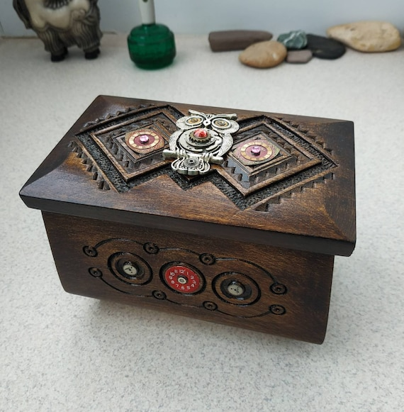 Wooden jewelry box Owl Steampunk Wood box Clockwork For jewelry Vintage Wood carving Organizer Chest Home Decor Girlfriend gift Owls gifts