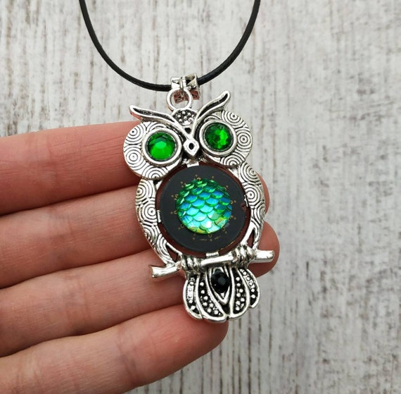 Owl jewelry Mens womens valentines day gifts Dragon Mermaid Scale Gift Owls love Fantasy Totem Bird For women Men Man Industrial Owls