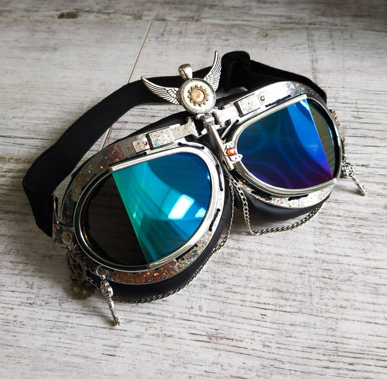 Steampunk Goggles  with Dust Mask Halloween Costume Outfit Burning Man Festival