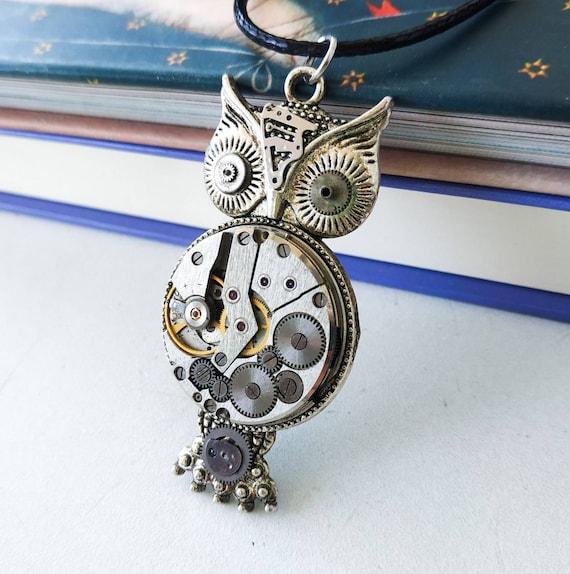 Steampunk owl necklace Vintage watch parts pendant Steam punk jewelry Gears Clockwork Steam punk gift