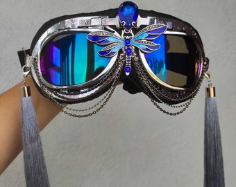 """Goggles """"Dragonfly"""" Carnival Costume Festival Chain Burning mask Halloween Rave fashion gift for Women Man Men EDC EDM Wear Trance Outfit"""
