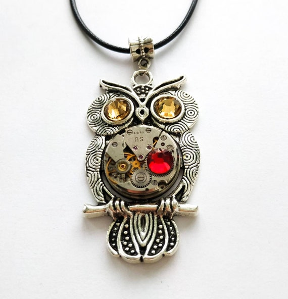 Owl jewelry Watch movement Crystal Gears Silver Red Fantasy Heart necklace Totem Talisman for women men girls Sister Cousin Girlfriend Mom