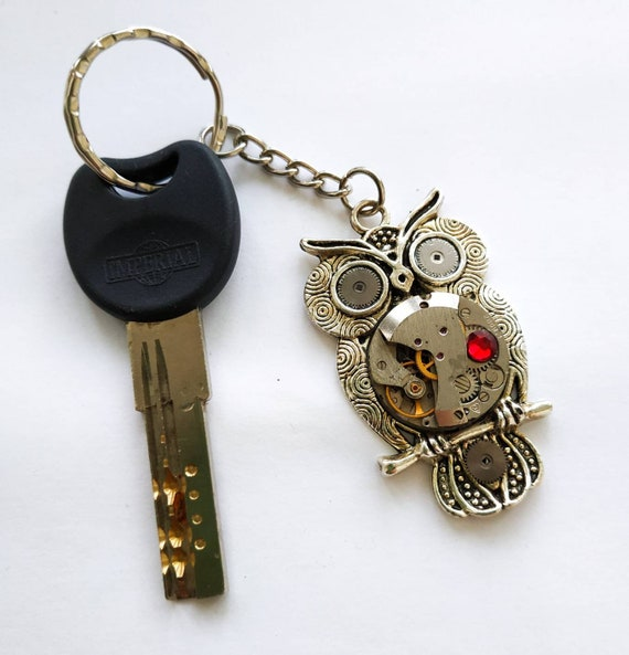 Owl keychain Steampunk Watch Parts Heart Keyring Car Bag Accessories Key Chain Vintage Watch Movement Steam punk gift for men women
