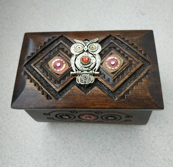 Wooden jewelry box Owl Steampunk Wood box Clockwork Casket for jewelry Vintage Wood carving Organizer Chest Home Decor Girlfriend gift