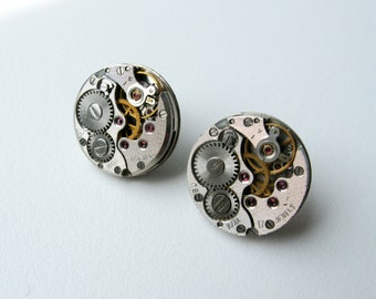 Steampunk stud earrings with mechanical watch movement Steampunk earrings Steampunk jewelry Industrial Gift idea Steampunk girl's Mad max