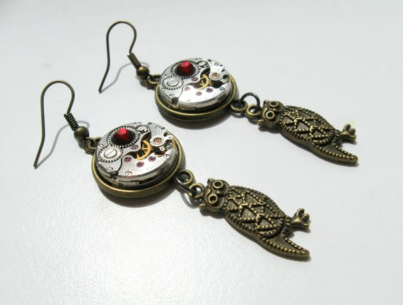 Owl earring Steampunk Gear Gift for women Steam punk jewelry