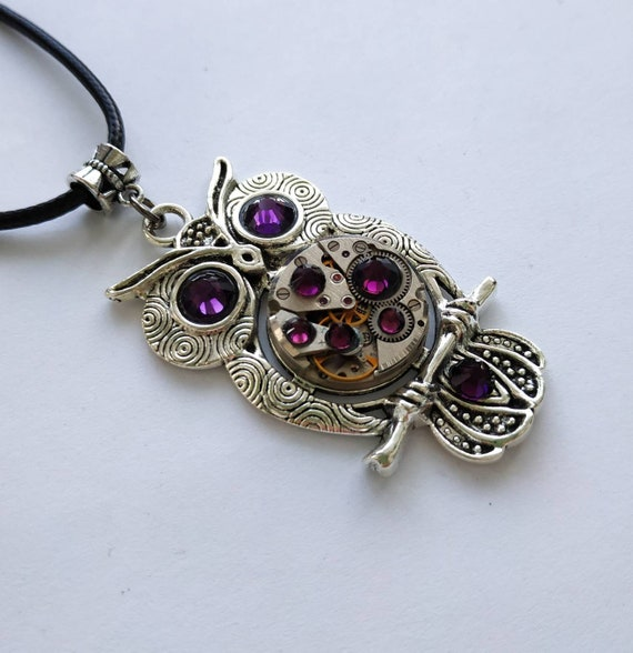 Owl jewelry Gift Necklace Silver Steampunk Amethyst pendant Bird Fantasy Totem For women men Girlfriend Steam punk Vintage Watch parts Owls