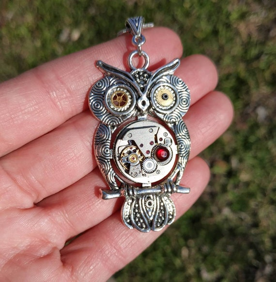 Steampunk owl necklace Silver Bird Red Heart Vintage pendant jewelry Watch movement Steam punk gift for women Mothers day gift from daughter