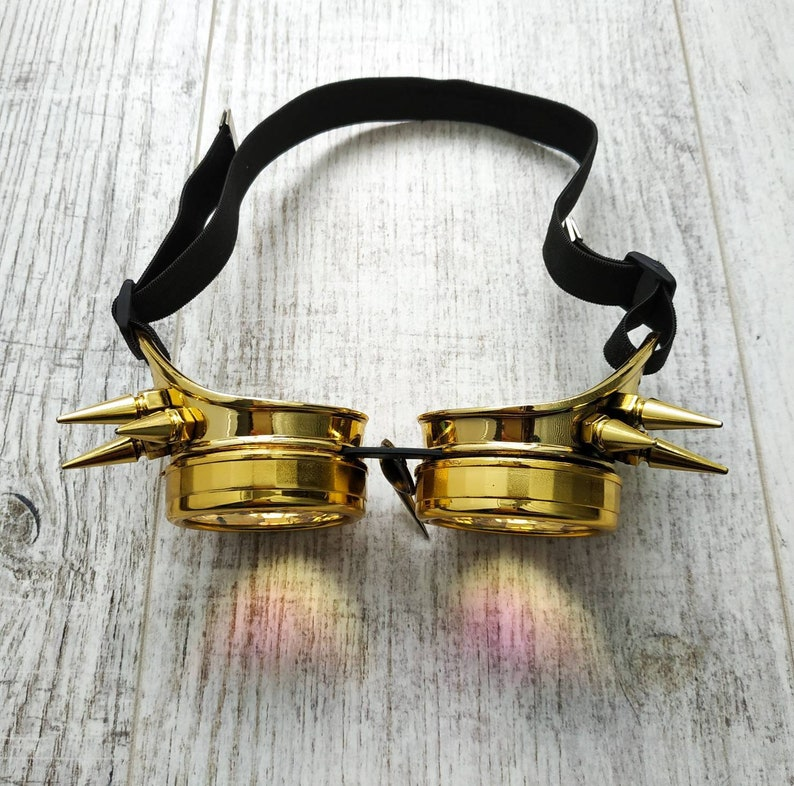 Gold dragon goggles Rainbow Trip Psychedelic Eye wear Golden Costume Festival DJ Futuristic King Queen Dance Music Steampunk For men women