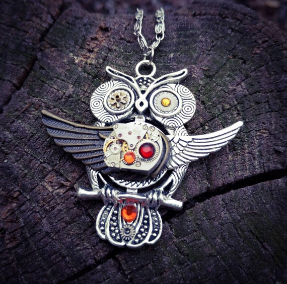 Owl jewelry necklace Steampunk Bird pendant Fantasy Wings Heart Totem Amulet Xmas Gift for women Steam punk Owls Vintage Original Christmas