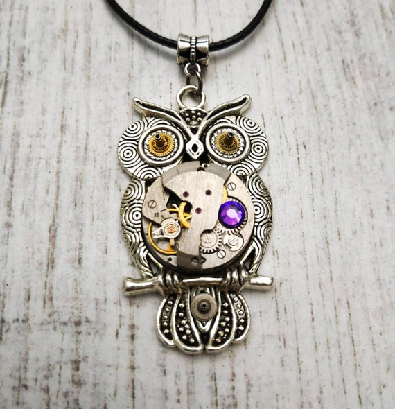 Owl gift necklace jewelry Steampunk pendant Bird Fantasy Antique jewellery Totem for women Girlfriend Steam punk Vintage Watch parts Owls