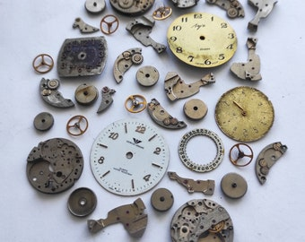 Watch parts lot Metal Old watch face For steampunk material art craft Made in USSR Vintage