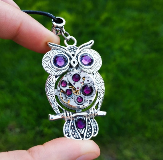 Owl jewelry Gift Necklace Silver Steampunk Amethyst pendant Bird Fantasy Totem Steam punk Christmas gifts for friends girlfriend women men