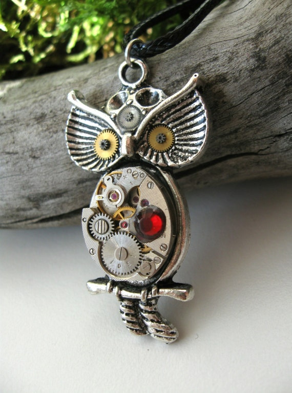 Steampunk owl necklace Vintage style necklace Freak jewelry Steampunk jewelry Gears Owl on branch necklace Clockwork Steam punk gift