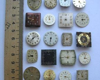 USSR watch face dials 20 pieces. Old watch parts For steampunk art Soviet clock face