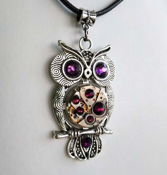 Owl jewelry Gift Necklace Silver Steampunk Amethyst pendant Bird Fantasy Totem For women men Girlfriend Steam punk Vintage Watch parts Owls