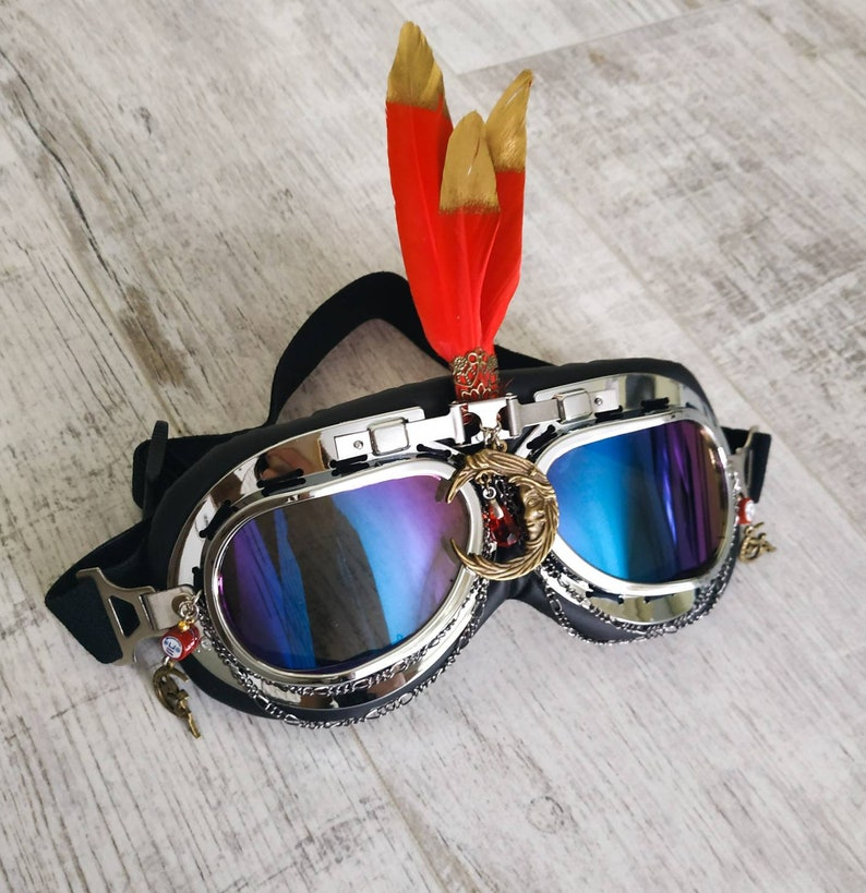 81e36d561ff Goggles Red Feather Phoenix Face Chain Headpiece Costume