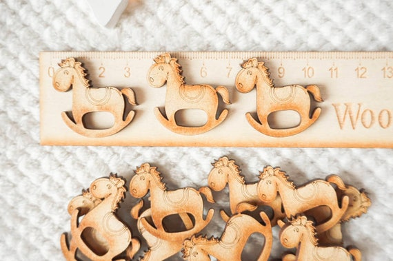 10x WOODEN HORSE BLANKS gift tag craft card embellishment scrapbook favours make