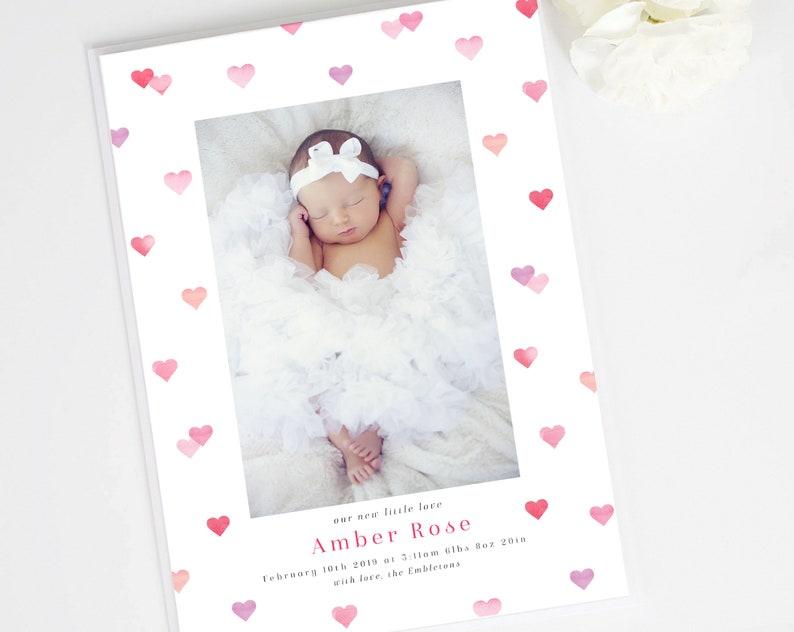 First Valentines Newborn Valentine Valentine Birth Announcement Photo announcement Our little Valentine