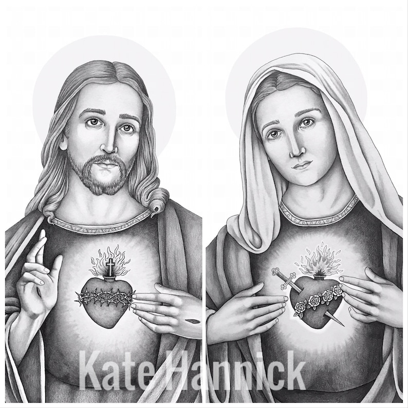 Sacred & Immaculate Hearts SET OF 2 Pencil Drawing Fine Art image 0