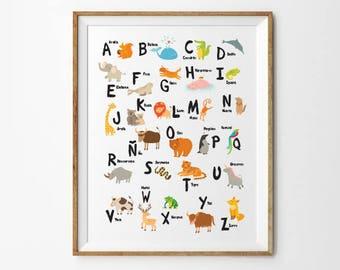Spanish Alphabet, 8x10 in, 11 x 14 in, 17 x 22 in, Abecedario, Alfabeto, ABC print, Digital Alphabet, Nursery Wall Decor, Nursery Wall Art