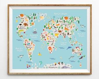 Animal world map, 8 x 10 in, 11 x 14 in, 20 x 30 in, Animal map, Kids world map, Kids prints, Nursery decor, Playroom decor