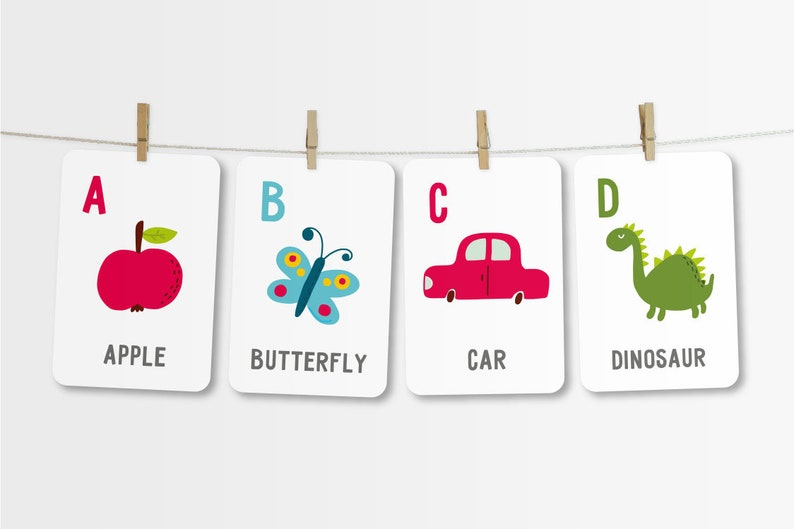 Alphabet Flash Cards Instant Download Alphabet Card Set ABC image 0